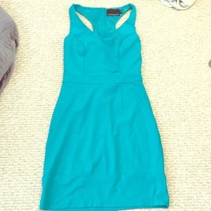 Teal Sexy Fitted Cynthia Rowley Mini Dress